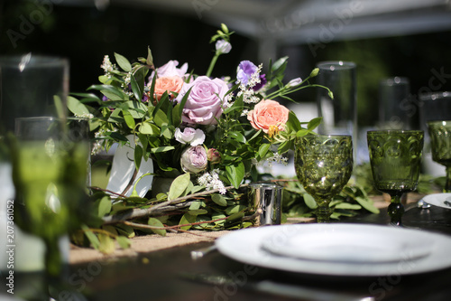 Rustic Wedding Decor Pink Peach Purple And Green Floral