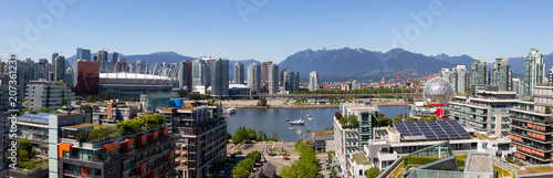 Downtown Vancouver, British Columbia, Canada - May 22, 2018: Aerial panoramic view of the modern city during a sunny day.