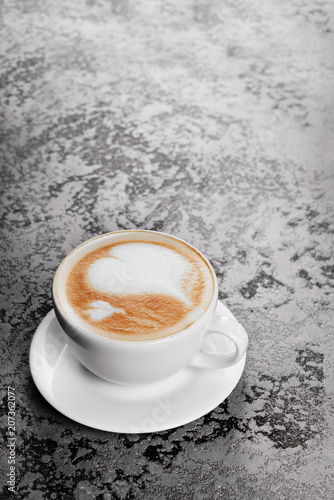 Photo Stands Coffee bar Cappuccino coffee on gray table background