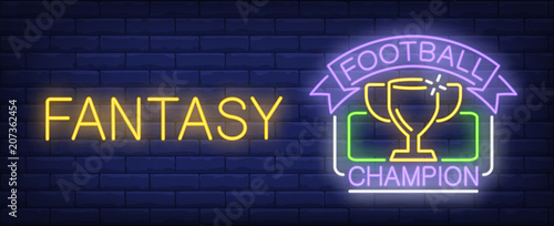 Photo Football champion fantasy neon sign