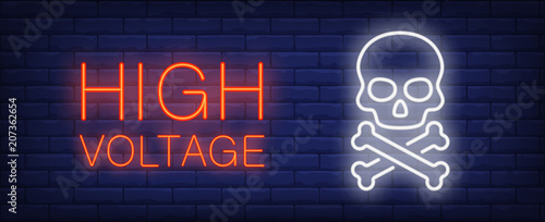Photo  High voltage red and white neon style lettering