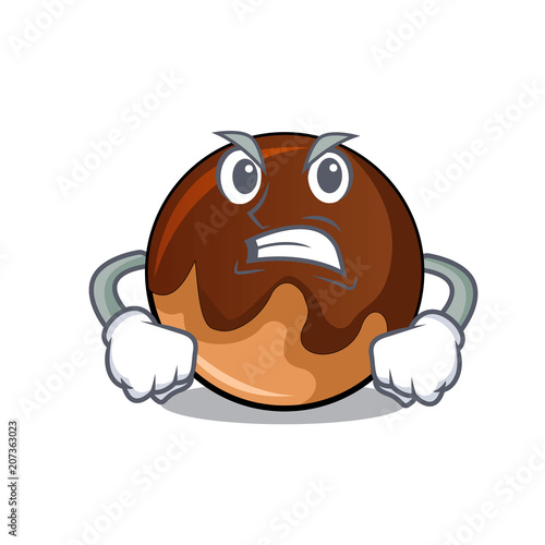 Canvas Print Angry chocolate donut mascot cartoon