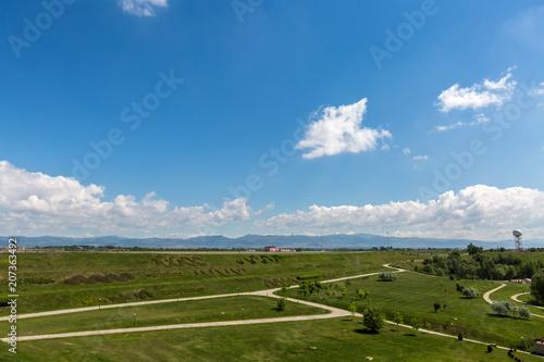 In de dag Blauwe jeans Landscape with blue sky