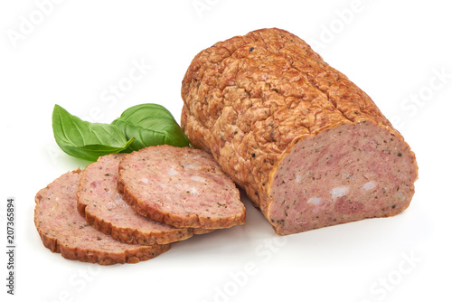 Fotografie, Obraz  Baked meatloaf with boiled eggs, isolated on white background.