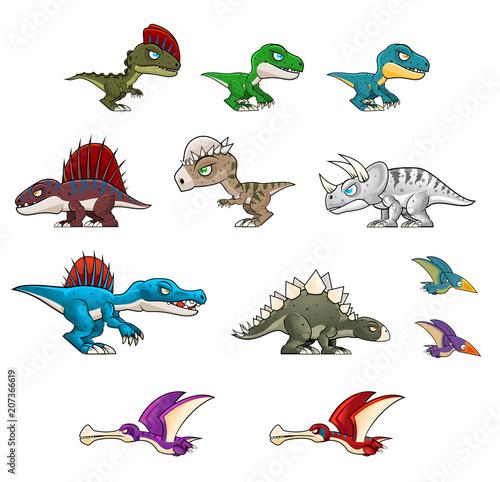 Collection of various dinosaur illustration Wallpaper Mural