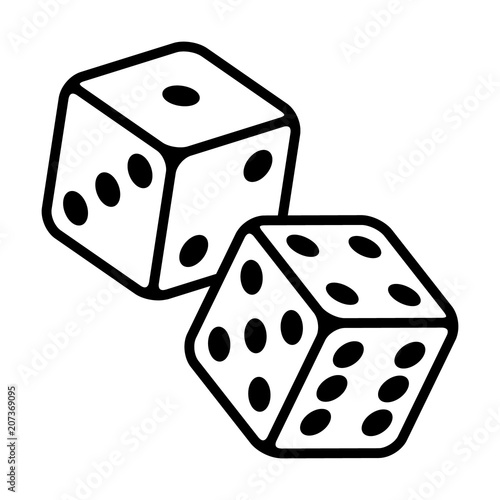 Pair of dice to gamble or gambling in craps line art vector icon for casino apps Tableau sur Toile