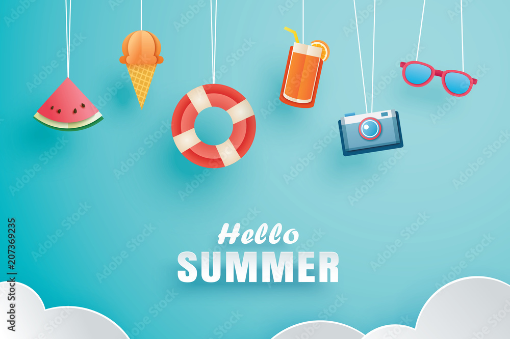 Fototapety, obrazy: Hello summer with decoration origami hanging on the sky background. Paper art and craft style. Vector illustration of life ring, ice cream, camera, watermelon, sunglass, orange juice.
