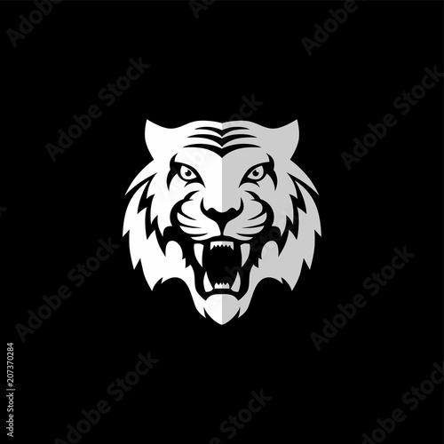 intimidating tiger front view theme logo template Fototapeta