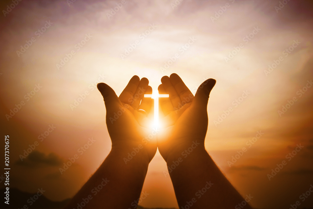 Fototapety, obrazy: Christian man with open hands worship christian. Eucharist Therapy Bless God Helping Repent Catholic Easter Lent Mind Pray. Christian concept background.