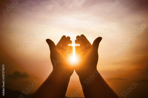 Poster de jardin Morning Glory Christian man with open hands worship christian. Eucharist Therapy Bless God Helping Repent Catholic Easter Lent Mind Pray. Christian concept background.