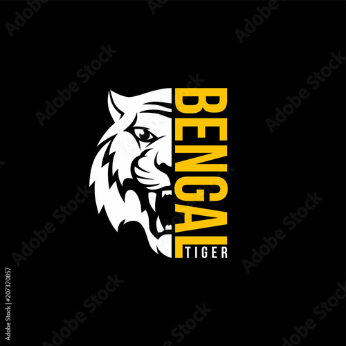 Fotografie, Tablou intimidating tiger front view theme logo template