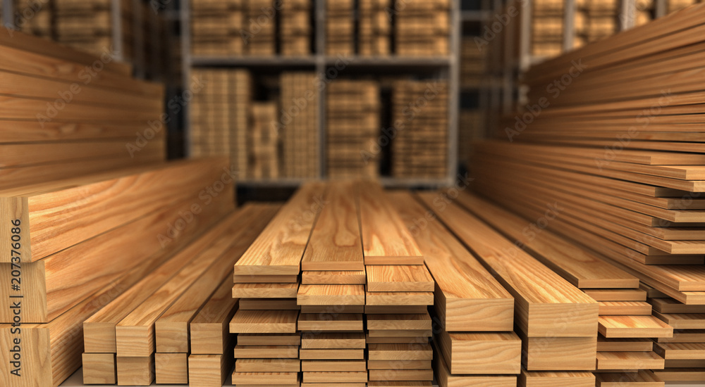 Fototapety, obrazy: Wood in Warehouse