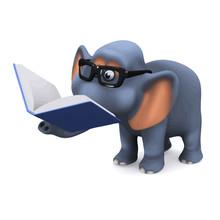 Vector 3d Elephant Reading A B...