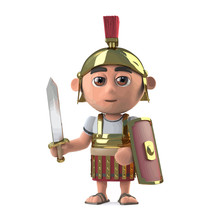 Vector 3d Roman Centurion Soldier Has Sword Drawn