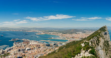 Panoramic View Of Gibraltar Rock, Gibraltar Town And Bay. Gibraltar Is British Overseas Territory In South West Europe.