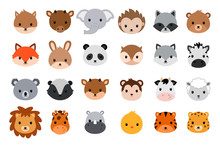 Cute Animal Heads Collection. Flat Style.
