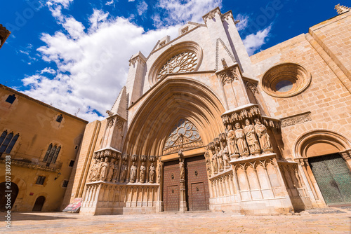 TARRAGONA, SPAIN - MAY 1, 2017: Cathedral of Tarragona, romanesque, gothic style.