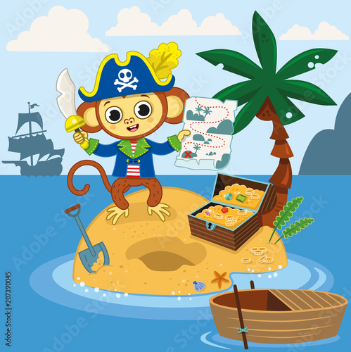 Foto op Plexiglas Piraten Pirate monkey found the treasure chest with his map on an island. Vector illustration.