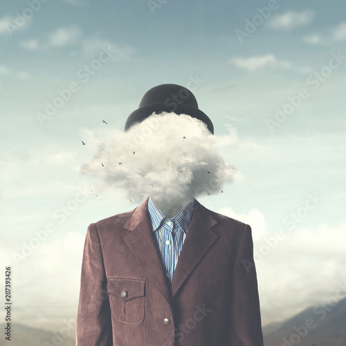 Valokuva surreal concept head in the clouds