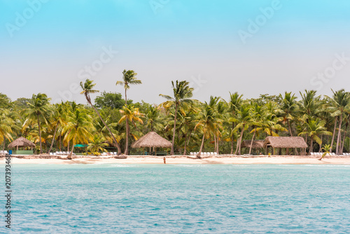 Foto op Plexiglas Caraïben SAONA, DOMINICAN REPUBLIC - MAY 25, 2017: View of the sandy beach of the island Saona. Copy space for text.