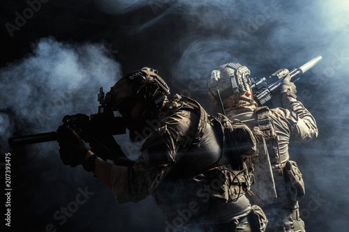 Group of security forces in Combat Uniforms with rifles Fototapet