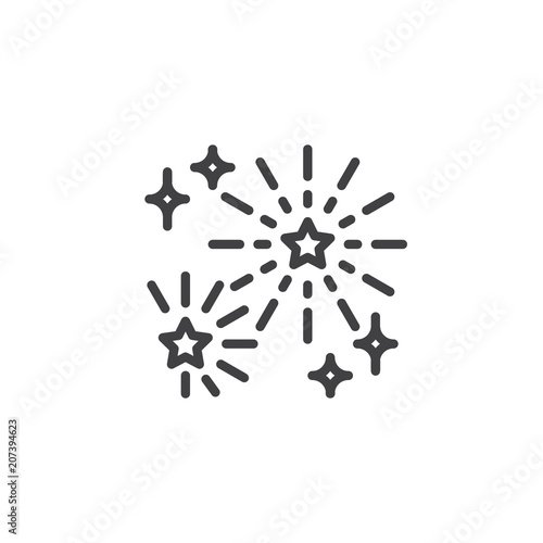 Obraz Fireworks outline icon. linear style sign for mobile concept and web design. Firework stars simple line vector icon. Symbol, logo illustration. Pixel perfect vector graphics - fototapety do salonu