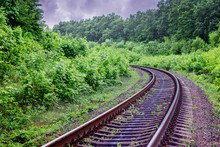 Railway Track With  Turn Going...
