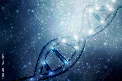 2d render of dna structure, abstract background плакат