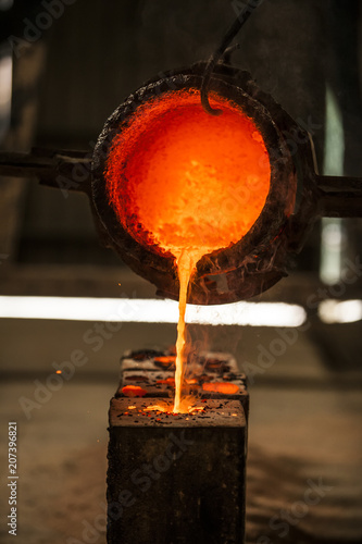 Metal pouring into mold