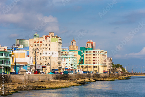 Staande foto Havana CUBA, HAVANA - MAY 5, 2017: View of residential buildings on the Malecon embankment. Copy space for text.