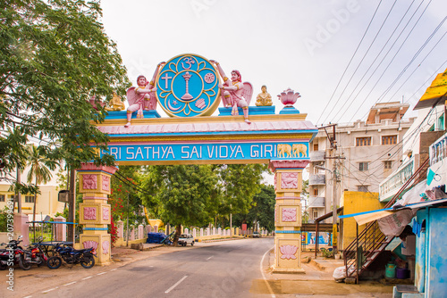 Photo PUTTAPARTHI, ANDHRA PRADESH, INDIA - JULY 9, 2017: Arch-gates to the city