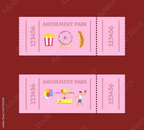 Fotografía  Amusement Park Ticket Set Vector Illustration