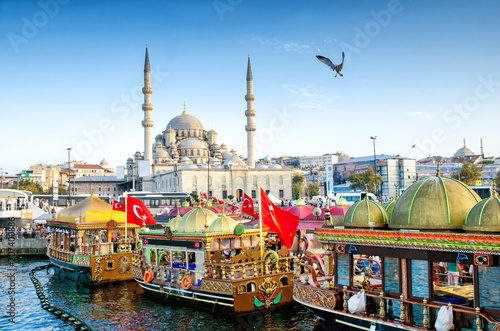 ISTANBUL, TURKEY - October 6, 2015: View of the Suleymaniye Mosque and fishing b Wallpaper Mural