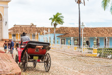 TRINIDAD, CUBA - MAY 16, 2017: The Horse In Harness On A City Street. Copy Space For Text.