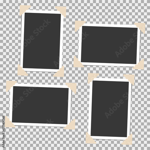 Obraz Set of photo frame with angle, corner on grey background. Template, blank for your trendy and stylish photo - fototapety do salonu