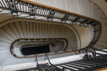A Winding Down Stairs Inside State Capitol Building