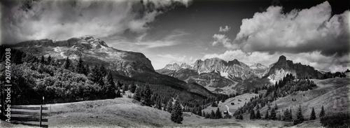 Foto auf Gartenposter Gebirge dolomites mountains landscape in black and white
