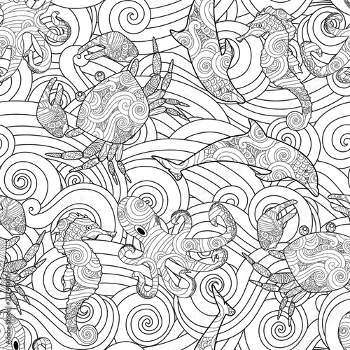 Serene hand drawn outline seamless pattern with waves, sea animals - dolphin, seahorse, crab, octopus isolated on white background. Coloring book for adult and older children.