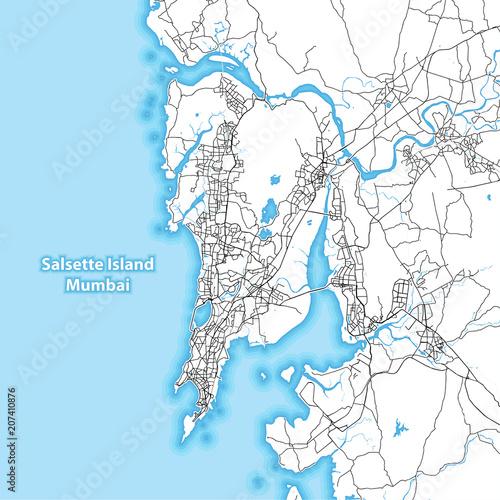 Dwukolorowa mapa wyspy Salsette, Mumbai, Indie