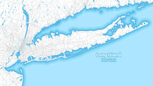 Two-toned Map Of Long Island, New York