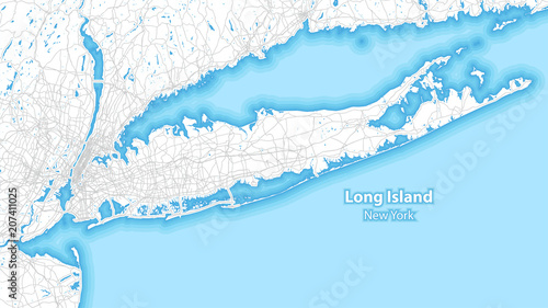 фотография  Two-toned map of Long island, New York