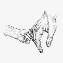 Hand Of Child And Father Or Parent. Hand Drawn Vector Illustration