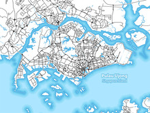 Two-toned Map Of The Island Of Pulau Ujong, Singapore