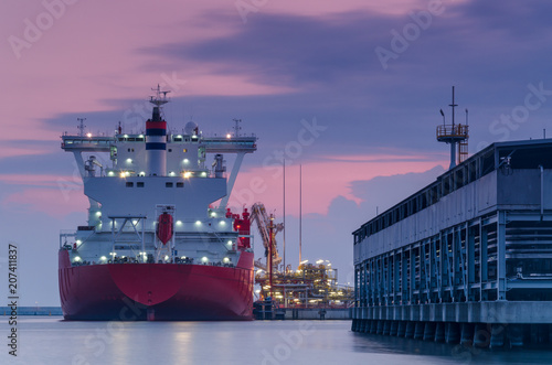 LNG TANKER - Ship at dawn moored to the gas terminal