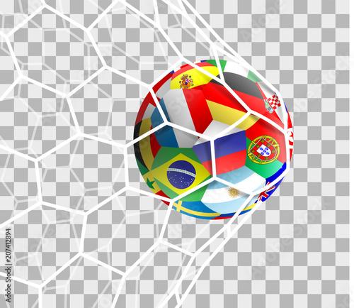 Fussball Mit Lander Flaggen Im Tor Netz Isoliert Hintergrund