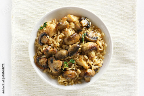 Risotto with mushrooms, top view