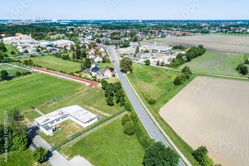 Fotografie, Tablou  Aerial view of the clubhouse of a regional football club on the outskirts of the