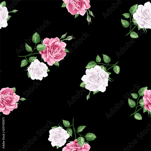 Valokuva  Rose flowers, petals and leaves in watercolor style on black background
