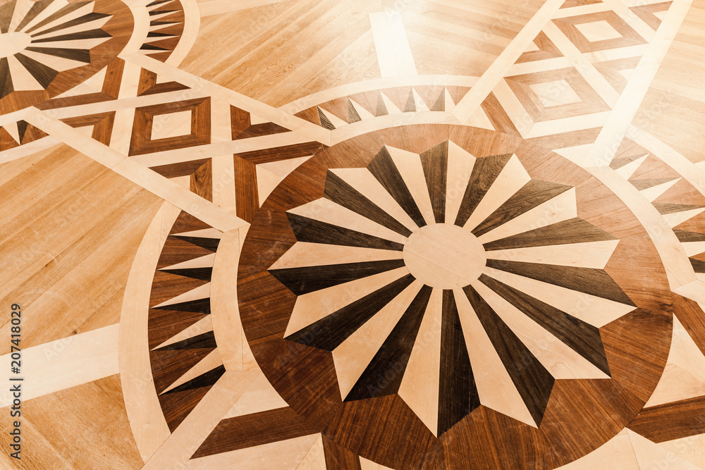 Wooden parquet with round vintage pattern - obrazy, fototapety, plakaty