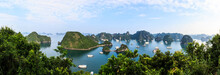 Panoramic View Of Ha Long Bay Islands, Tourist Boat And Seascape, Ha Long, Vietnam.